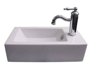 Barclay Products Arcadia Wall Mount Sink in White with Faucet Hole on Right Side
