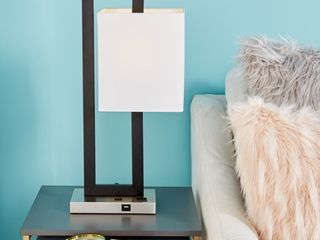 Cosmoliving Contemporary Style Rectangular Black Metal Table lamp with Dropped Rectangle Shade  USB Plug   Outlet 15a x 24a