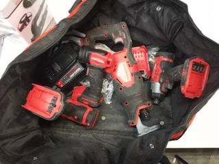 Craftsman 20 volt 4 Piece tool set Sawzall impact driver drill flashlight 1 battery 1 charger with a carry bag