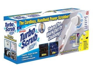 The As Seen On TV Turbo Scrub 360 is the cordless  rechargeable handheld power scrubber
