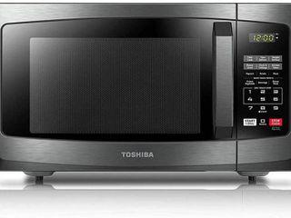 Toshiba 1 2 cu ft 1100 Watt Countertop Microwave  Black Stainless Steel
