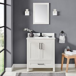 OVE Decors Cliff 30 in White Single Sink Bathroom Vanity with White Cultured Marble Top  Mirror Included