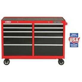 CRAFTSMAN Heavy Duty 52 in W x 37 5 in H 10 Drawer Ball bearing Steel Tool Cabinet  Red