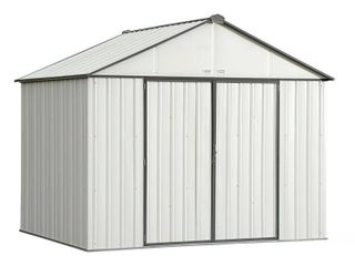 Steel Storage Shed 10 x 8 ft  Galvanized Extra High Gable Cream  Charcoal Trim