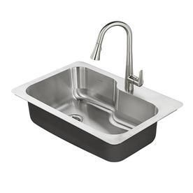 American Standard Raleigh 33 in x 22 in Stainless Steel Single Basin Drop in or Undermount 1 Hole Residential Kitchen Sink All In One Kit