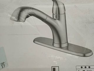 Stainless Steel Pvd 1 handle Deck Mount Pull out Kitchen Faucet 67737 2008d2