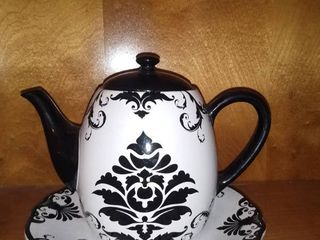 Certified International Black and White Teapot and Dish