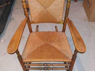 Small Wooden Wicker Antique Rocking Chair In Great Condition