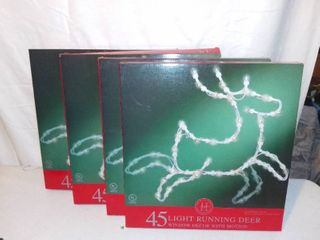 lot of 4 Home For The Holidays 45 light Running Deer Window Decor With Motion