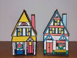 Pair of Ceramic Christmas Houses Candle Holders