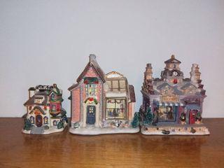 lot of 4 Decorative Christmas Buildings