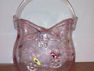 Murano Style Hand Blown Art Glass Purse Vase