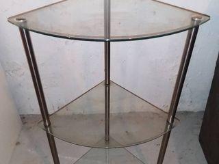 Nice Glass And Metal 3 Tiered Corner Shelf In Good Shape