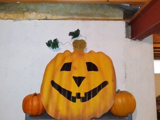 lot Of 3 Pumpkin Decorations One large Metal Yard Decoration And 2 Plastic