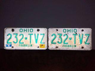 Pair of Matching Vintage Ohio license Plates