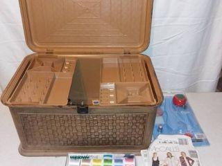 Vintage lerner Plastic Sewing Basket With Contents