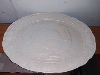 large Porcelain Turkey Themed Serving Platter