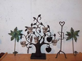Nice lot Of 4 Various Candle Holding Accessories Candle Tree  Heart Etc