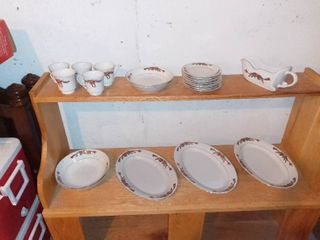 Nice Holiday Table Setting China Gravy Boat  Saucers Etc