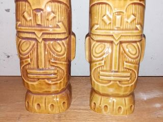 Pair Of Tiki Man Porcelain Containers Never Been Used
