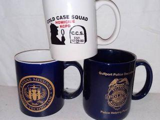 lot of 3 Mugs Police   Bomb Squad   Cold Case Squad