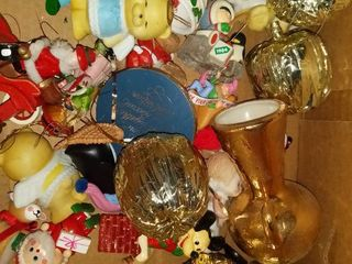 Hodge Podge lot Of Holiday Decorations Tree  Ornaments  Weighted Wreath Holder Etc