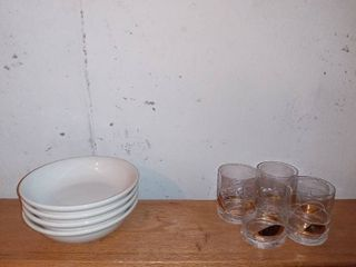 lot Of 4 Bowls And 4 Decorated Glasses