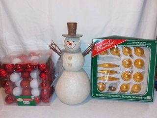Glass Christmas Ornaments and Frosty