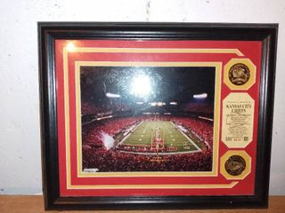 Very Nice Chiefs Framed Photo With Coins Commemorating 03 AFC West Championship