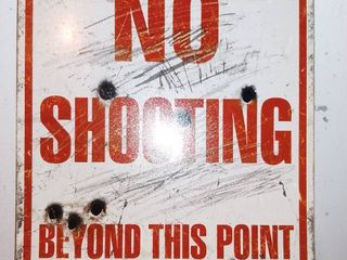 Metal No Shooting Sign For Home Decorating