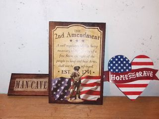 Nice little 3 Piece lot Of Home Decor Home Of The Brave Man Cave Etc