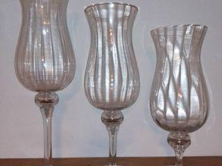 Set of 3 Descending Glass Candle Holders