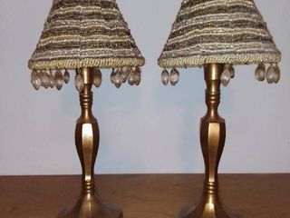 Pair of Brass Candle Holders With Beaded Shades