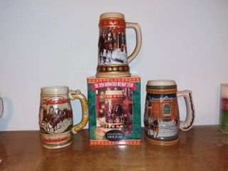 lot of 3 Budweiser Holiday Steins Clydesdales