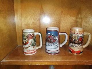 Wonderful lot Of 3 Budweiser Holiday Steins