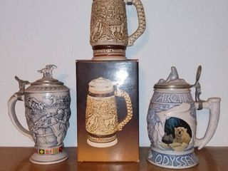 lot of 3 Avon Steins   Western Round up   Winners Circle   Arctic Odyssey