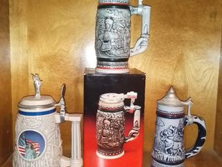 lot Of 3 Avon Steins Age Of The Iron Horse Ceramic Stein Etc