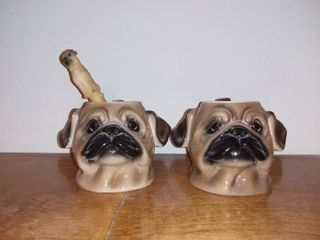 Pair of Big Sky Canine Pug Mugs by Phyllis Driscoll and a Pug Pen