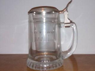 Clear Glass lidded Stein WIllIAM