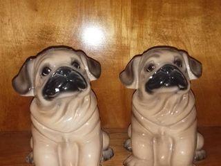Pair of Big Sky Canine Pug Porcelain Piggy Banks