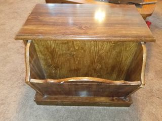 Nice Antique End Table  With Magazine  Book Holder And Storage Cubby Contents Not Included
