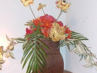 Metal Vase With Decorative Flowers