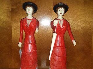 Pair of Wooden Women With Umbrellas