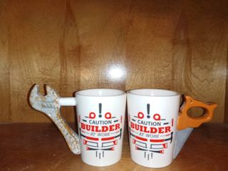 Really Cool Pair Of Builder At Work Coffee Mugs