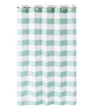 Cabana Stripe Shower Curtain with liner Aqua White   Hookless