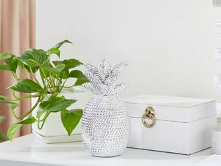 lITTON lANE 5 in  x 9 in  Silver Small Glam Pineapple Sculpture Table Decor with Metallic