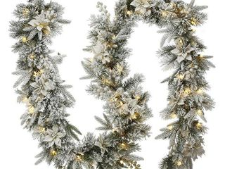 National Tree Company Pre lit Frosted Colonial Fir Artificial Christmas Garland  Green