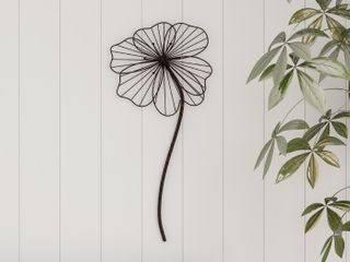 lavish Home 80 WAllA 11 Rustic Metal Wire Stemmed Flower Sculpture Hanging Accent Art for living Room Wall Decor   Brown