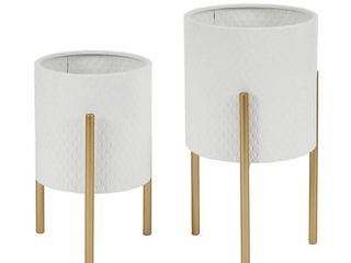 luxen Home White Round Iron Planters and Gold Stand  2 Piece