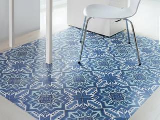 Floor Adorn Adhesive Decorative and Removable Vinyl Floor Appliques  Dark Blue Moroccan  12 x12  Set of 36 Appliques Retail 88 99